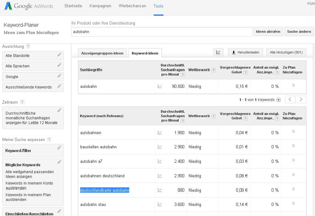 Adwords Keyword Tool Suchvolumen Analyse