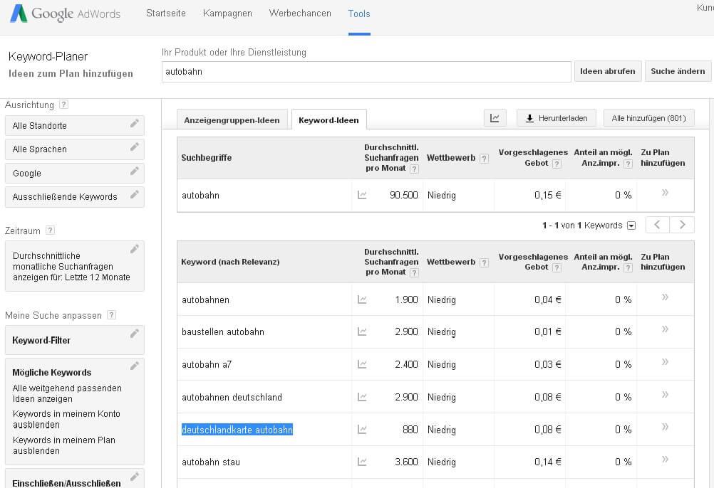 Adwords Keyword Tool Suchvolumen Analyse